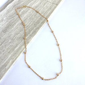 14K Gold / Sterling, Gold bead & chain necklace